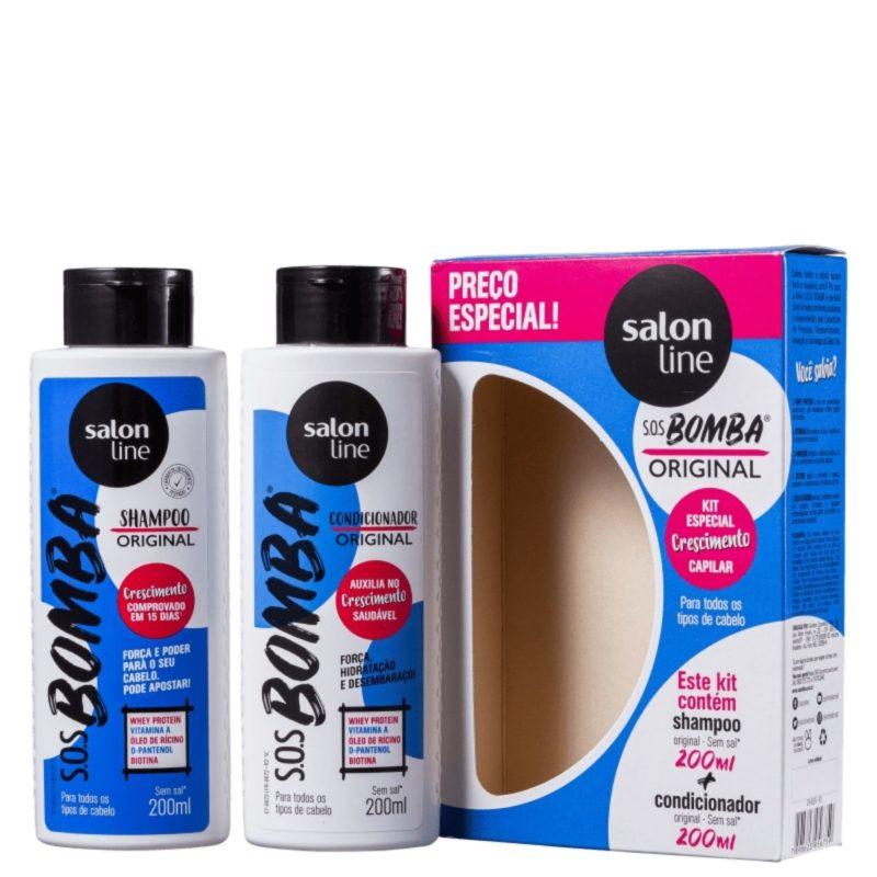 Salon line sos bomba original kit shampho 200ml+ condicionador 200ml